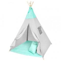Namiot dla dzieci Tipi miętowy gwiazdki